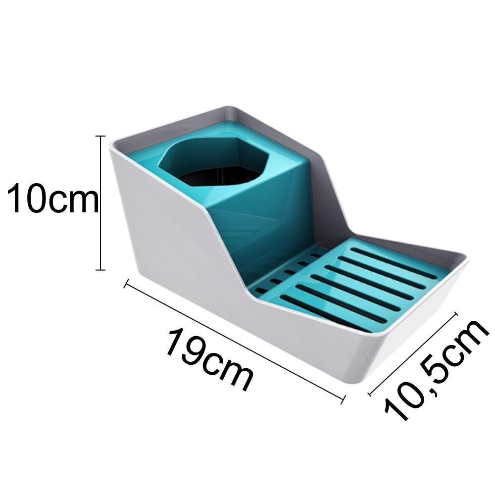 Organizador de Pia P/ Sabão Detergente Com Escorredor Azul Turquesa