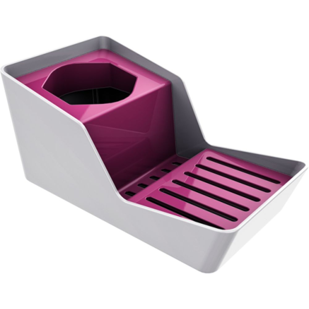 Organizador de Pia Porta Detergente e Esponja - Branco/Rosa