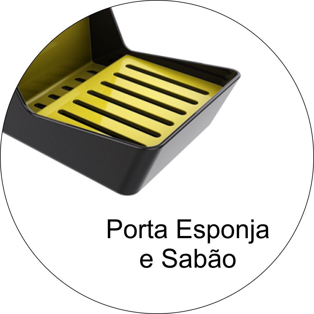 Organizador de Pia Porta Detergente Esponja e Sabão Chumbo/Amarelo