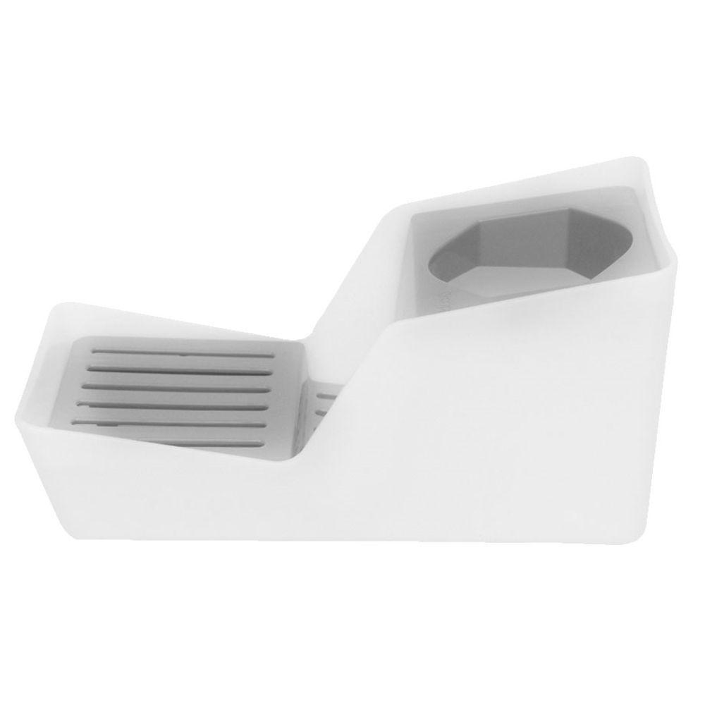 Organizador de Pia Porta Detergente Esponja - Branco/Vermelho