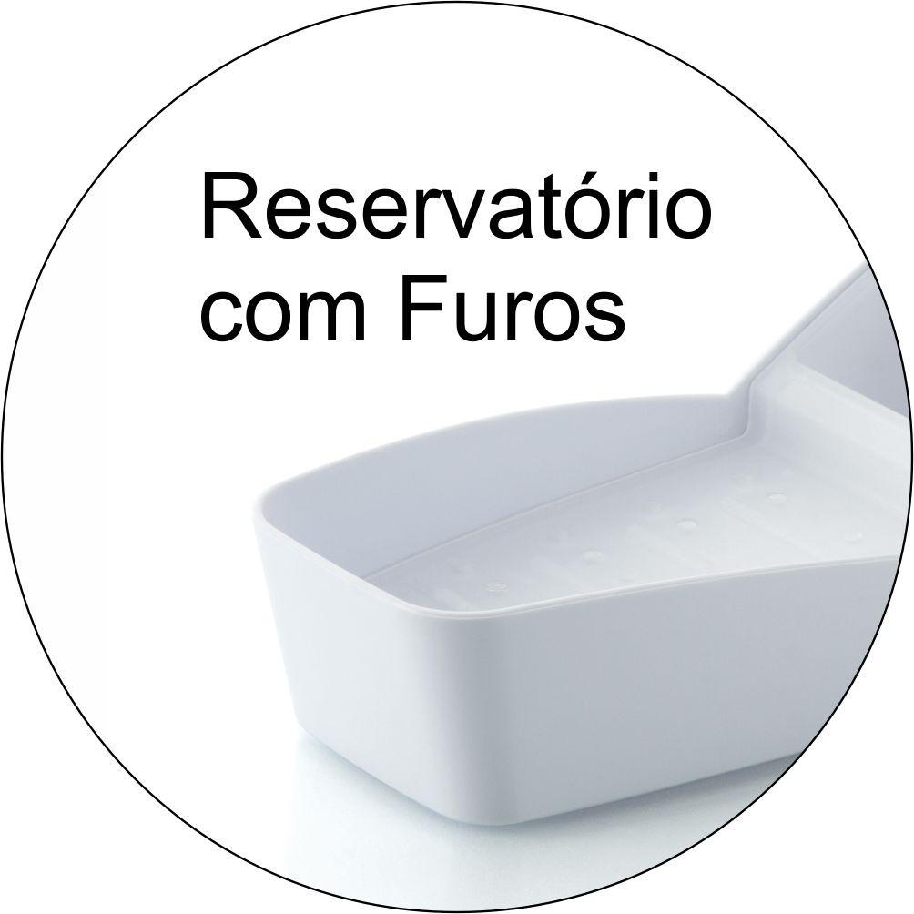 Organizador de Pia Detergente Sabão em Barra e Esponja-Branco