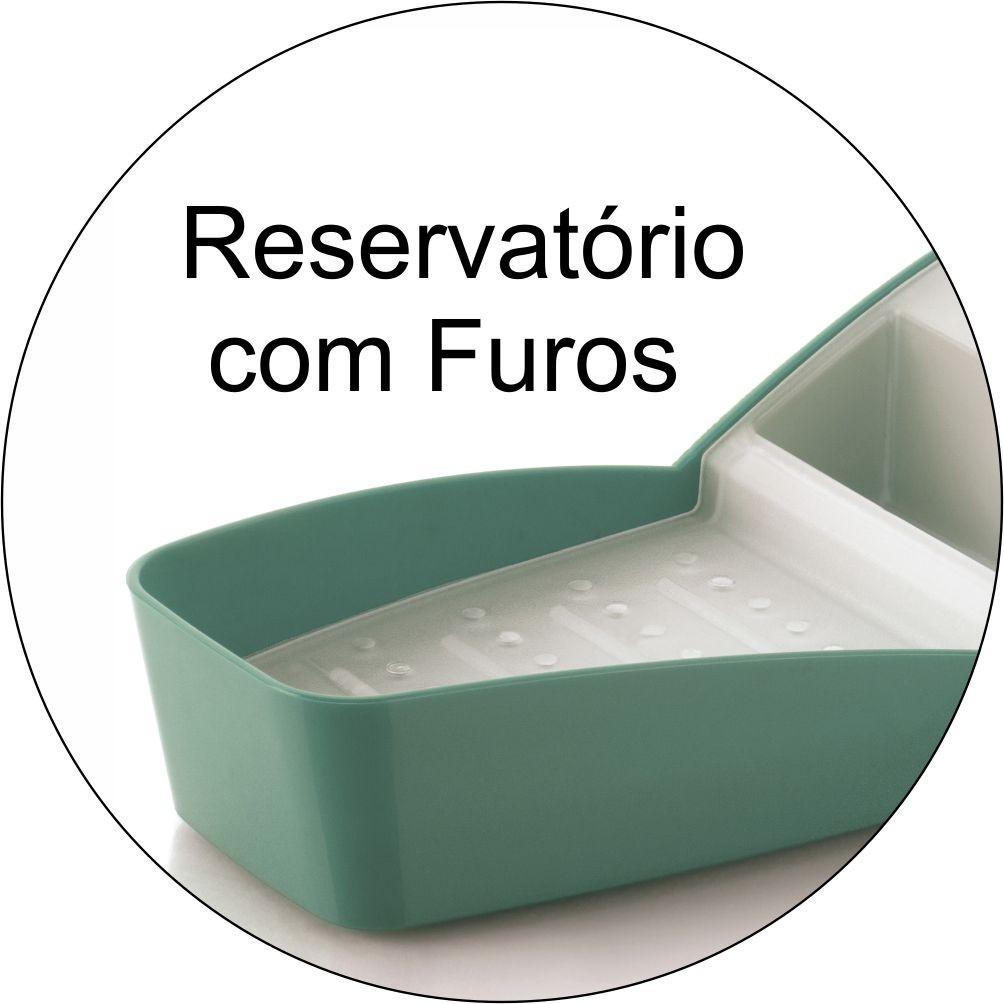 Organizador de Pia Detergente Sabão Barra e Esponja Verde