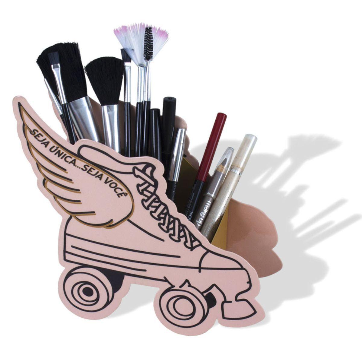 Organizador de Pincéis Maquiagem Patins Seja Única