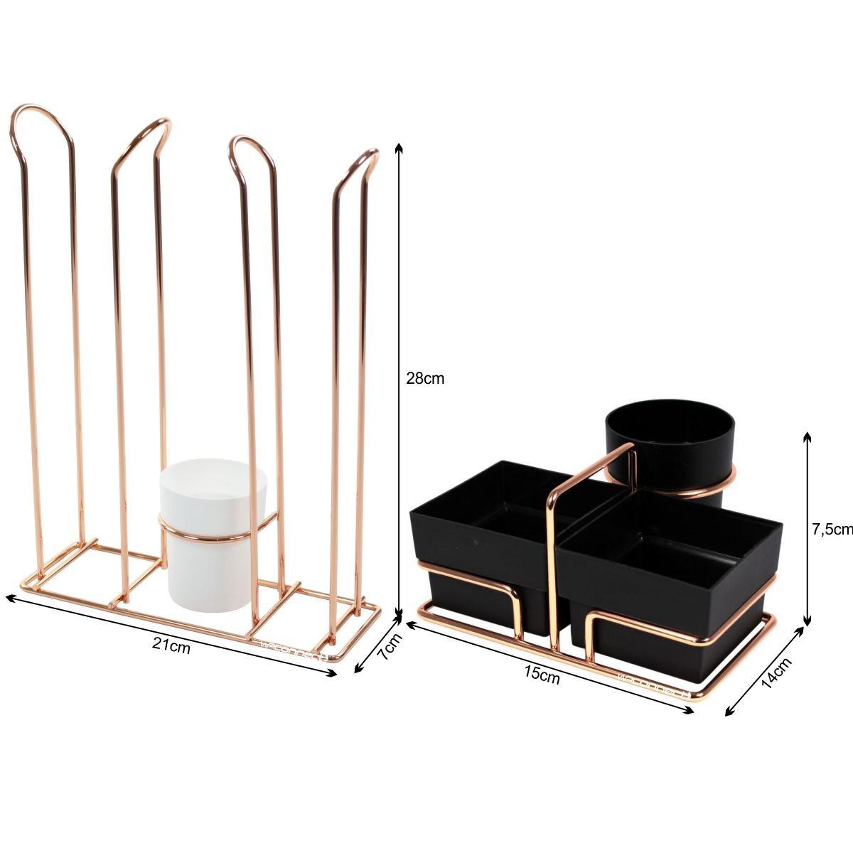 Organizador de Sachês Mexedores Porta Copos Café Água - Rosé Gold