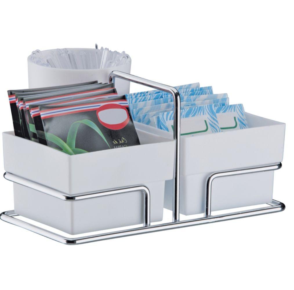 Organizador P/ Sachês Açúcar + 2 Porta Copos 200 ML Copos de Água