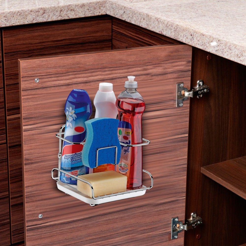 Organizador Sabão, Detergente, Esponja Fixação Na Parede - Aço Cromado
