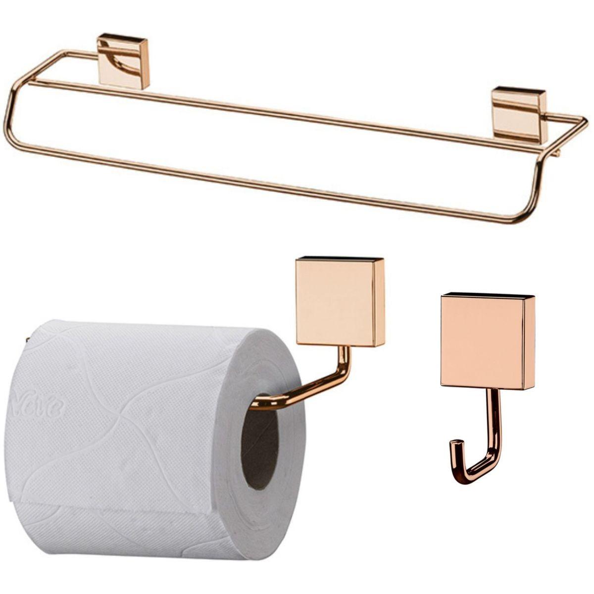 Organizadores de Banheiro Cobre Rosé Gold Toalheiro Gancho