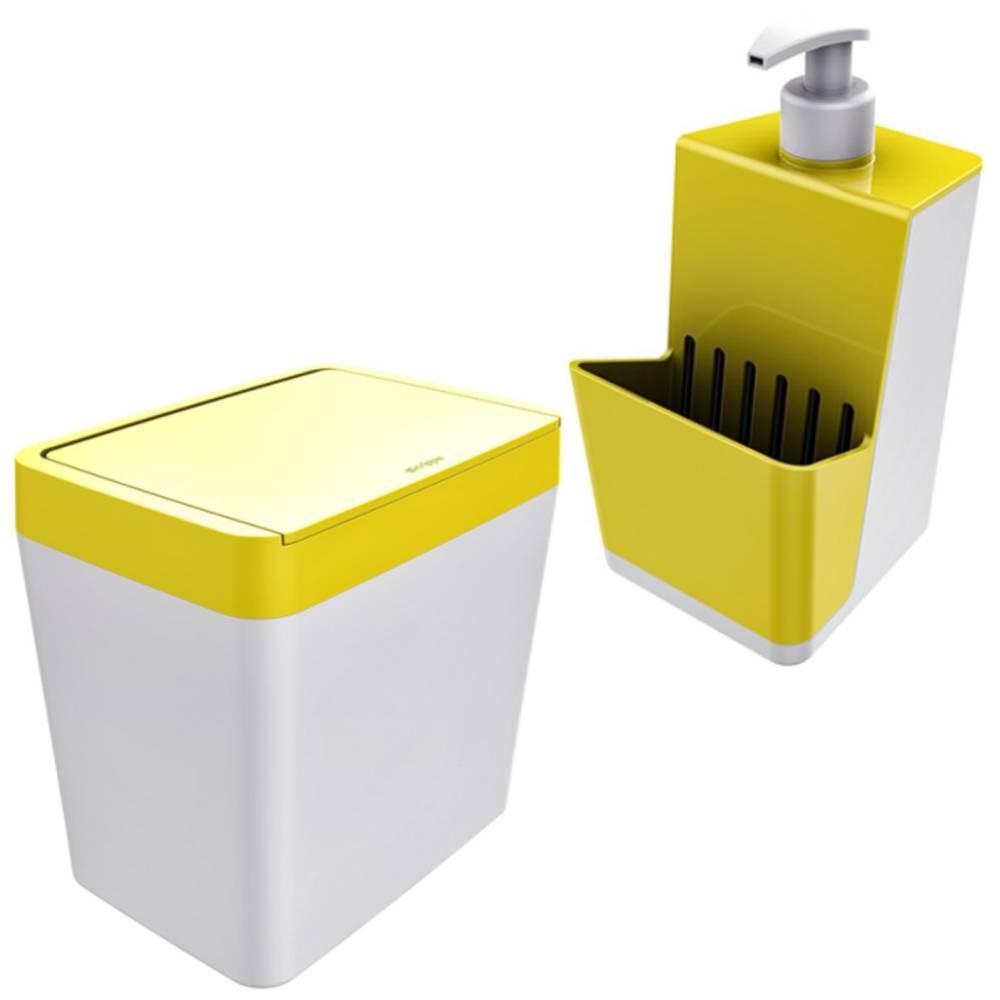 Kit Organizadores Cozinha Dispenser P/ Detergente + Lixeira