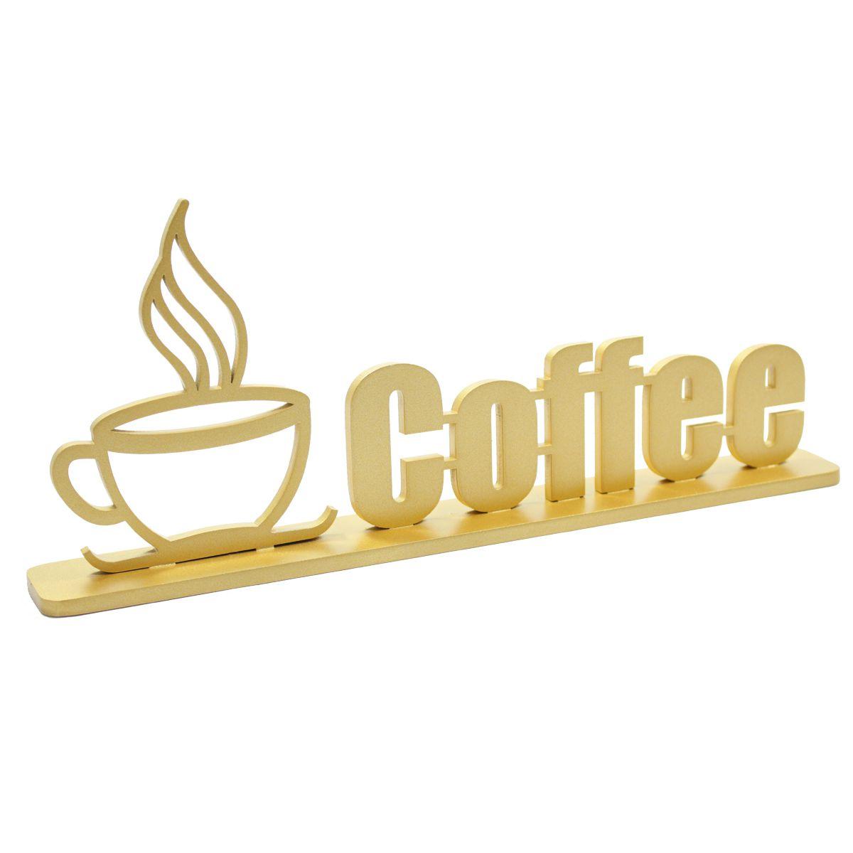 Palavra Decorativa Adorno Coffee em MDF Bancada Escritório