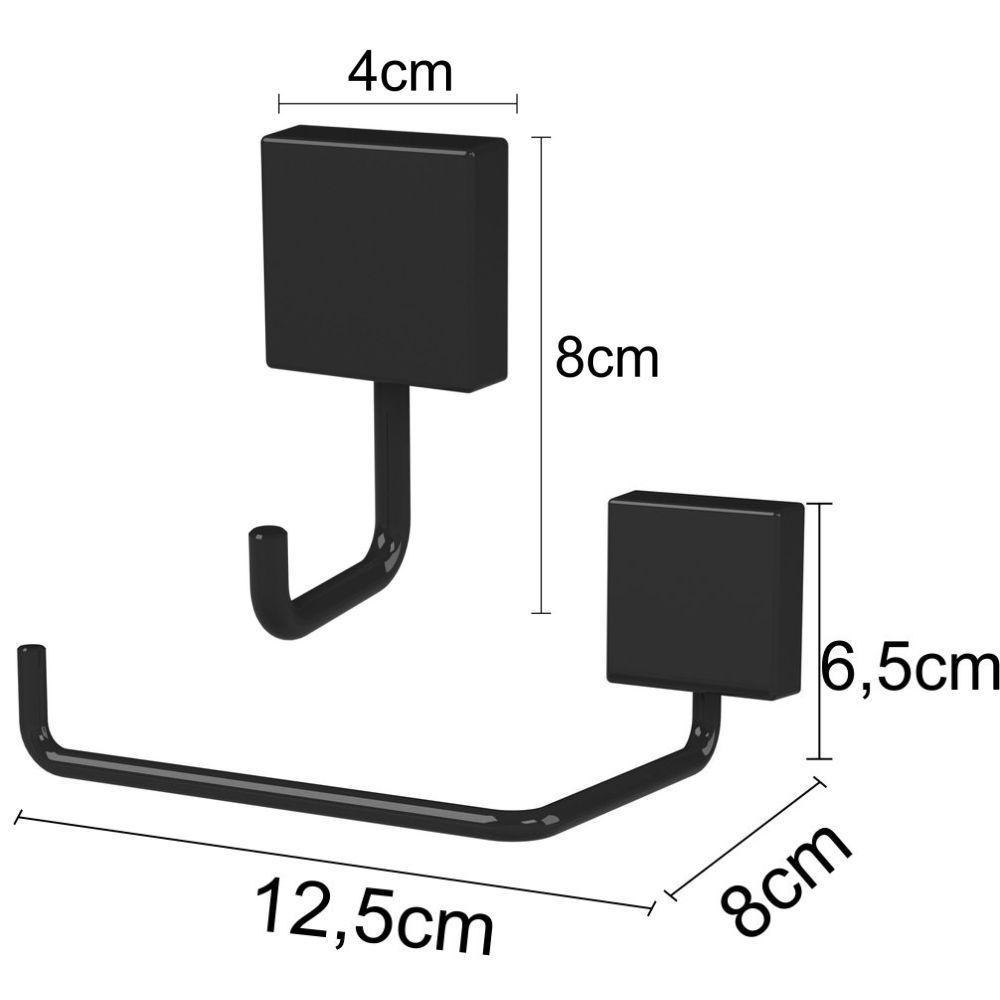 Papeleira P/ Banheiro Com Gancho Multiuso Fixação Parafuso