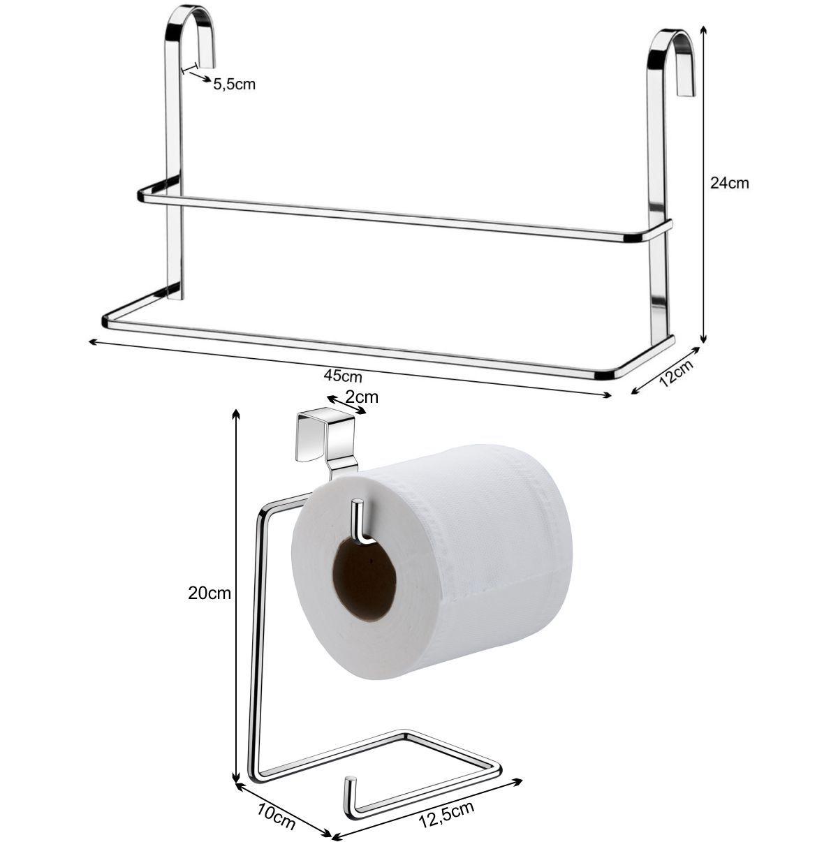 Papeleira Para Caixa Acoplada Toalheiro de Box Duplo 45cm