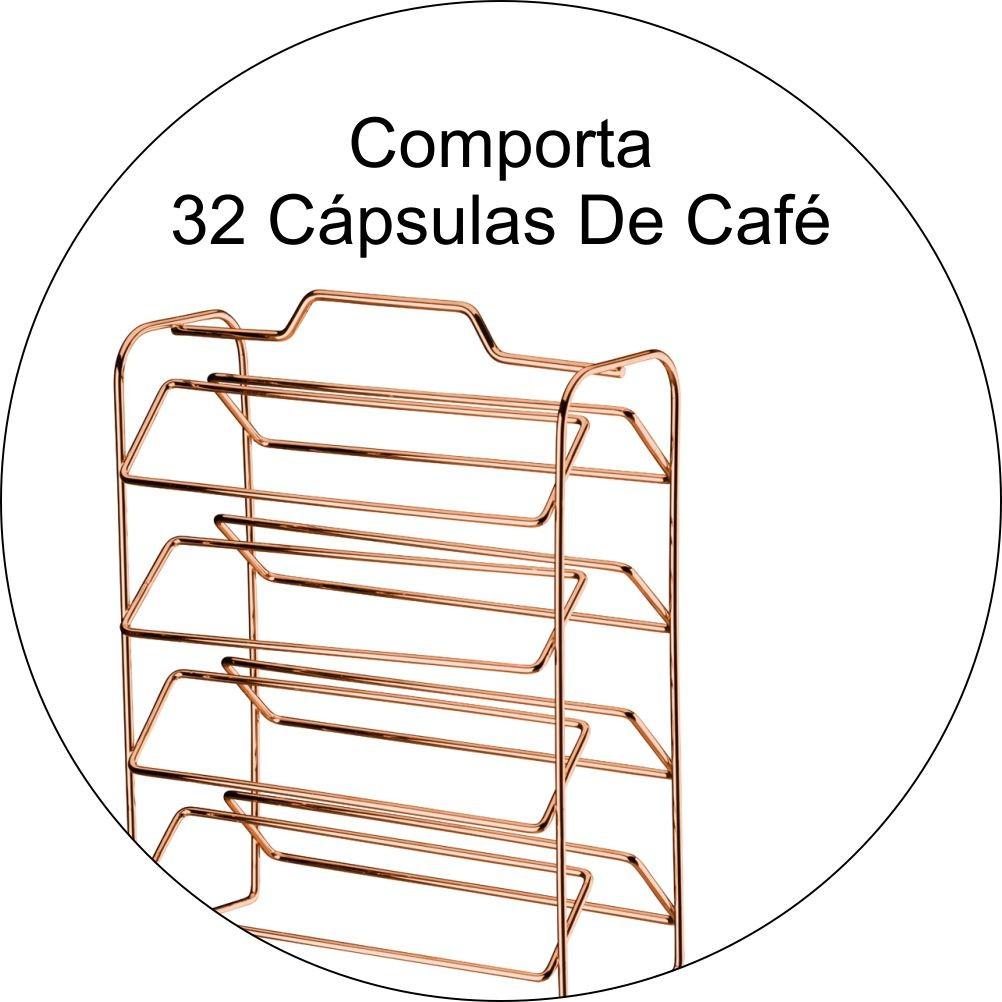 Porta Cápsulas Dolce Gusto Com Adega P/ 6 Garrafas - Cobre