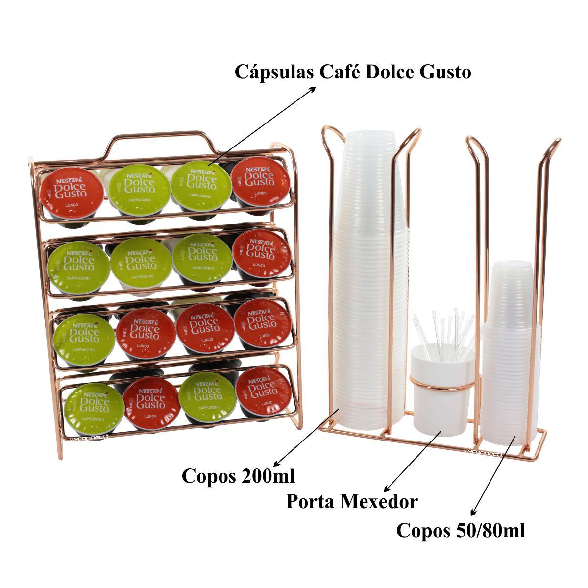 Porta Cápsulas Dolce Gusto Suporte de Copos e Mexedores - Rosé Gold
