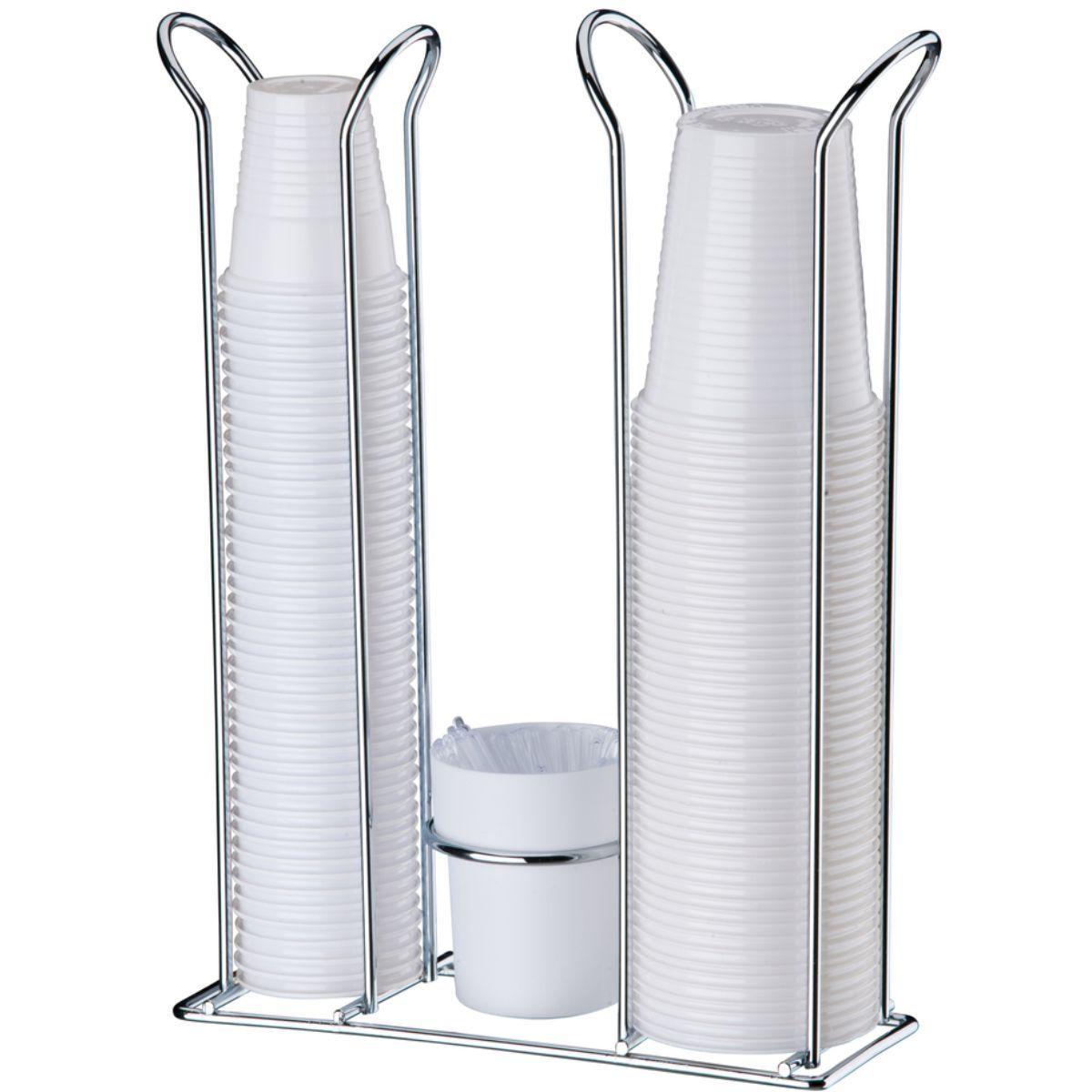 Porta Copos Descartáveis 200 ml e 50/80 ml Com Porta Colheres Cromado - Branco