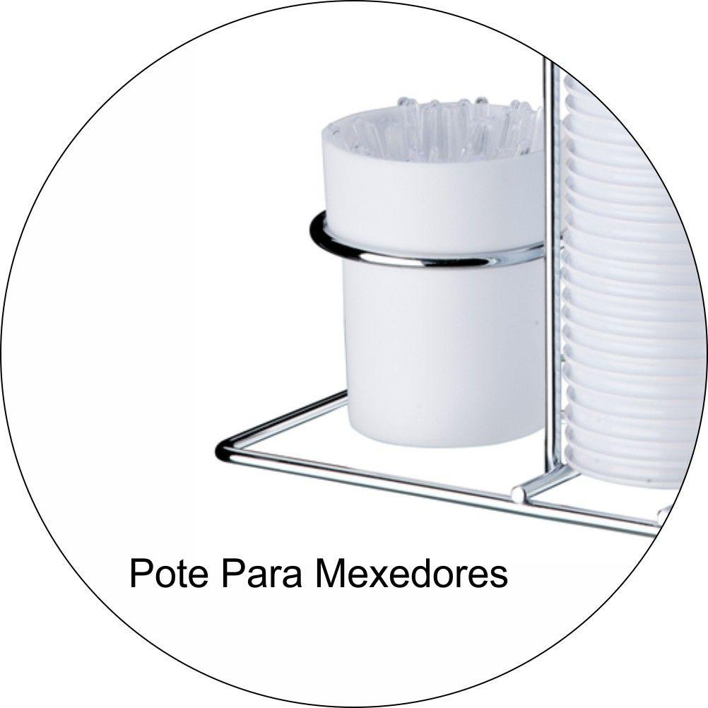 Porta Copos Descartáveis 80ml Porta Colheres Cromado - Branco