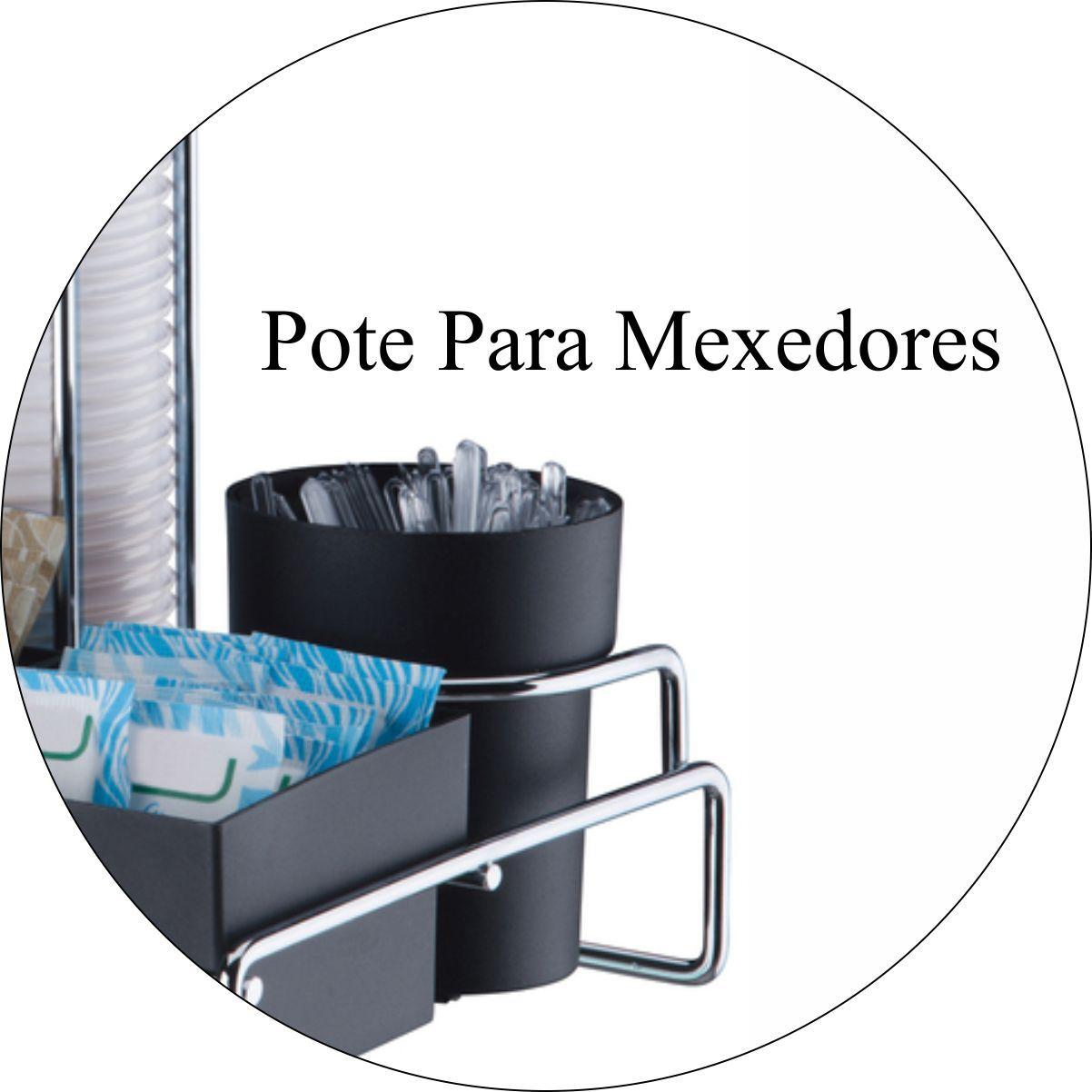Porta Copos Descartáveis Com Porta Sachês 50 E 80ml Cromado - Preto