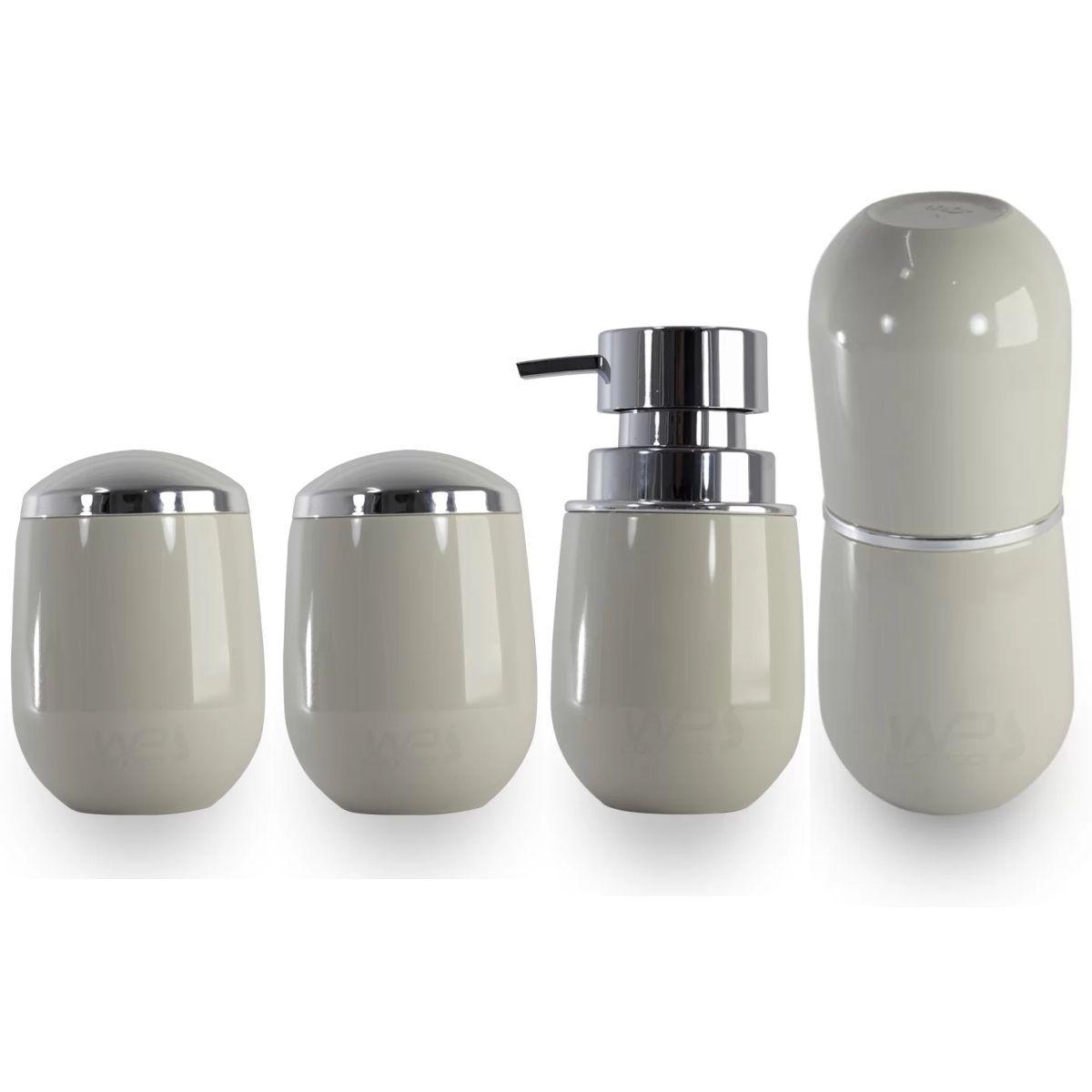 Kit de Bancada Banheiro Porta Escovas Sabonete Algodão