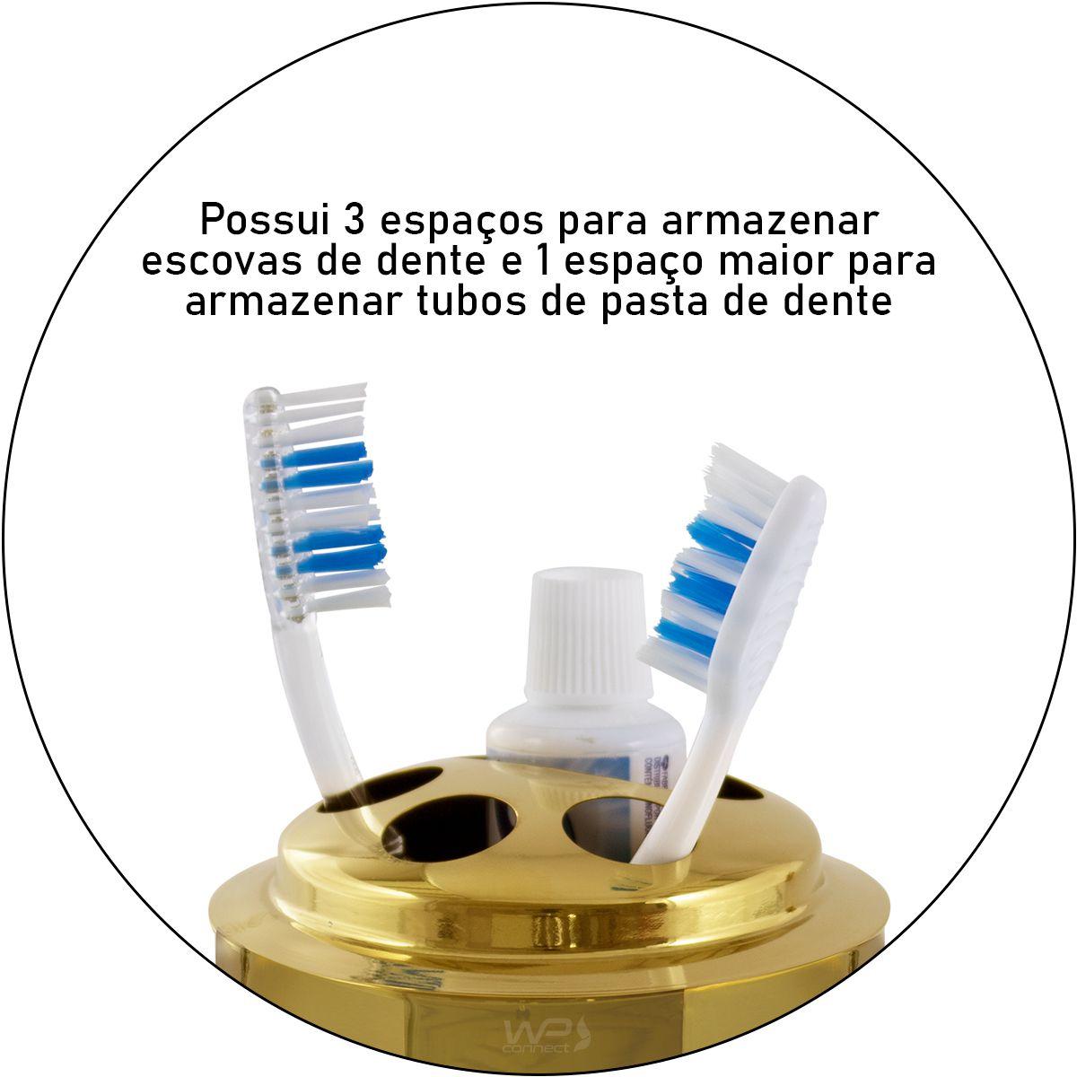 Porta Escova De Dente Spa Golden Aço Inox Dourado