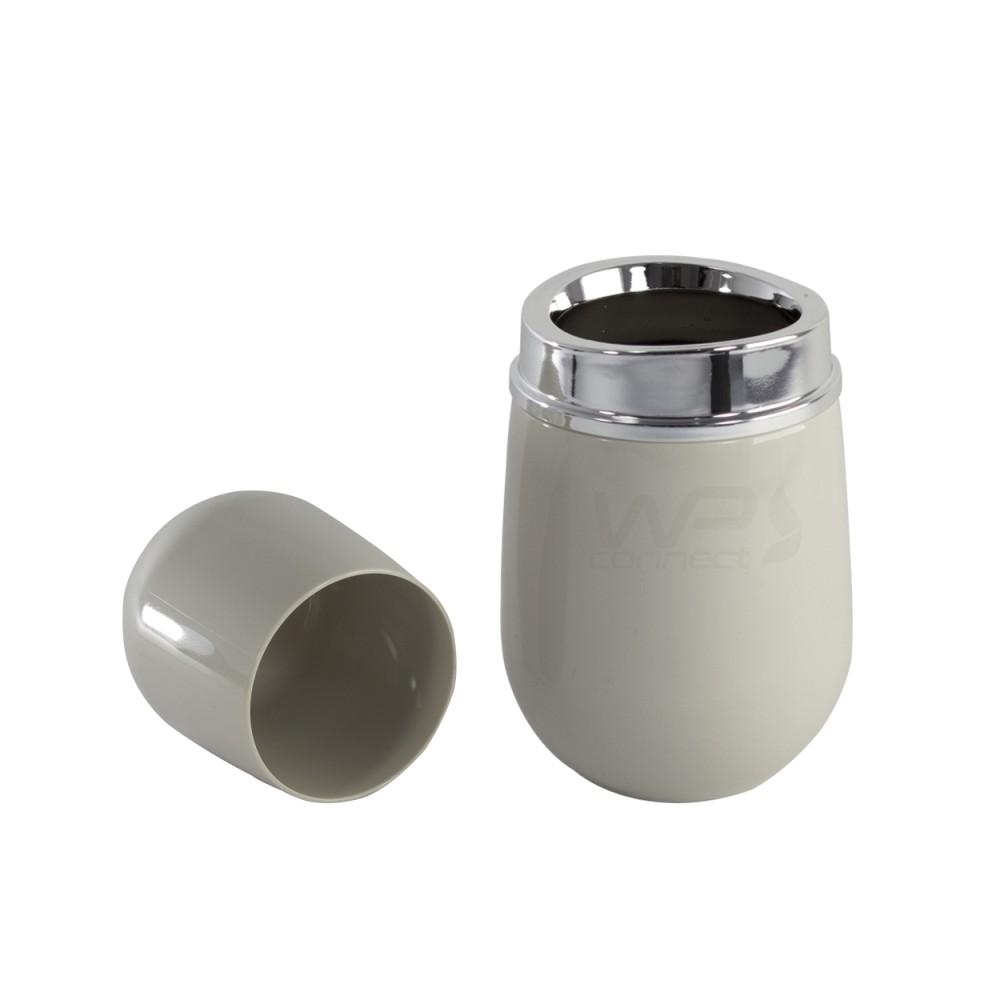 Porta Escova e Creme Dental C/ Porta Algodão - Bege