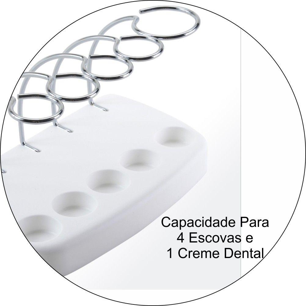 Porta Escova e Creme Dental para Pia do Banheiro - Aço Cromado