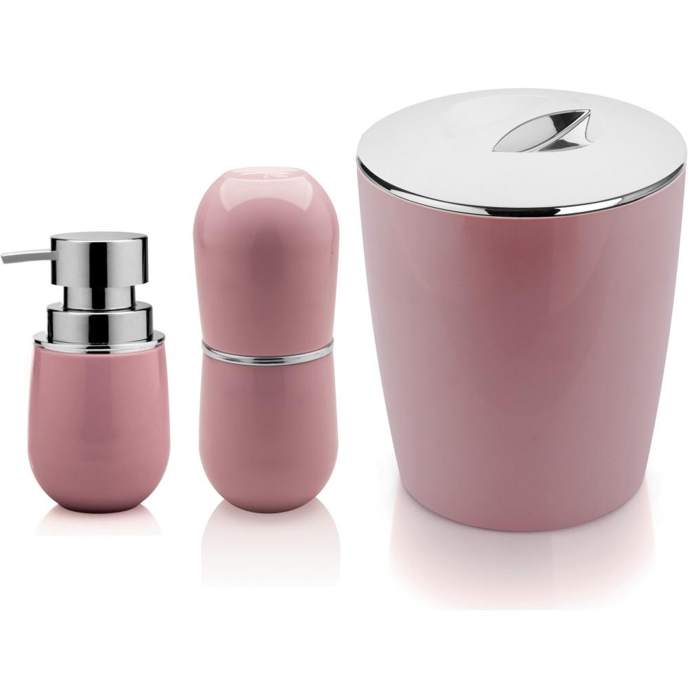 Porta Escova e Sabonete Líquido Com Lixeira 5 Litros Rosa