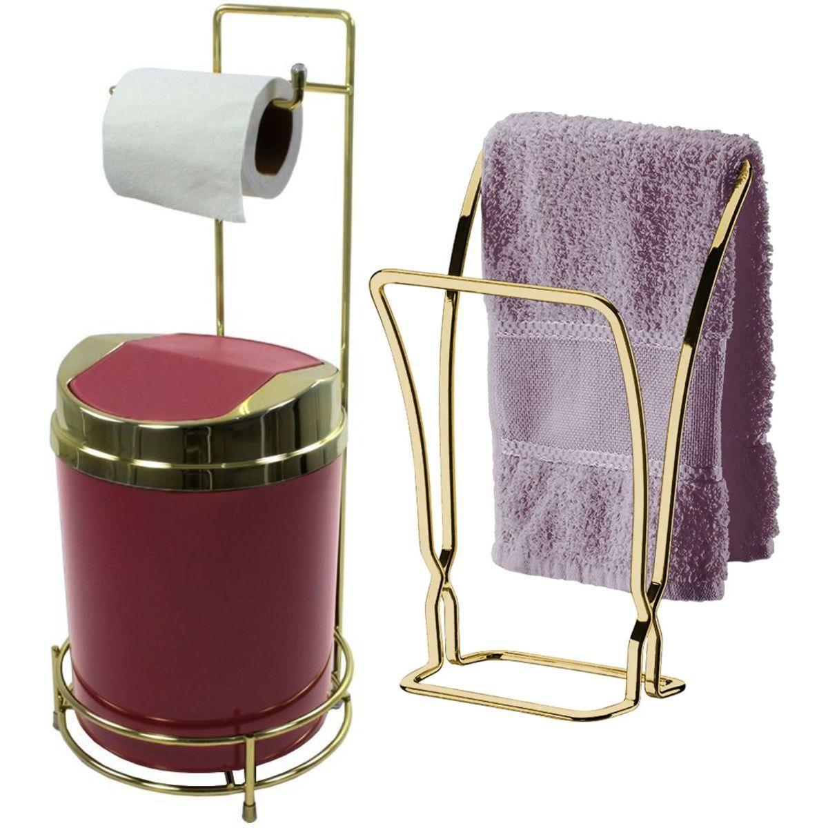 Porta Papel Higiênico de Chão Toalheiro Bancada Dourado