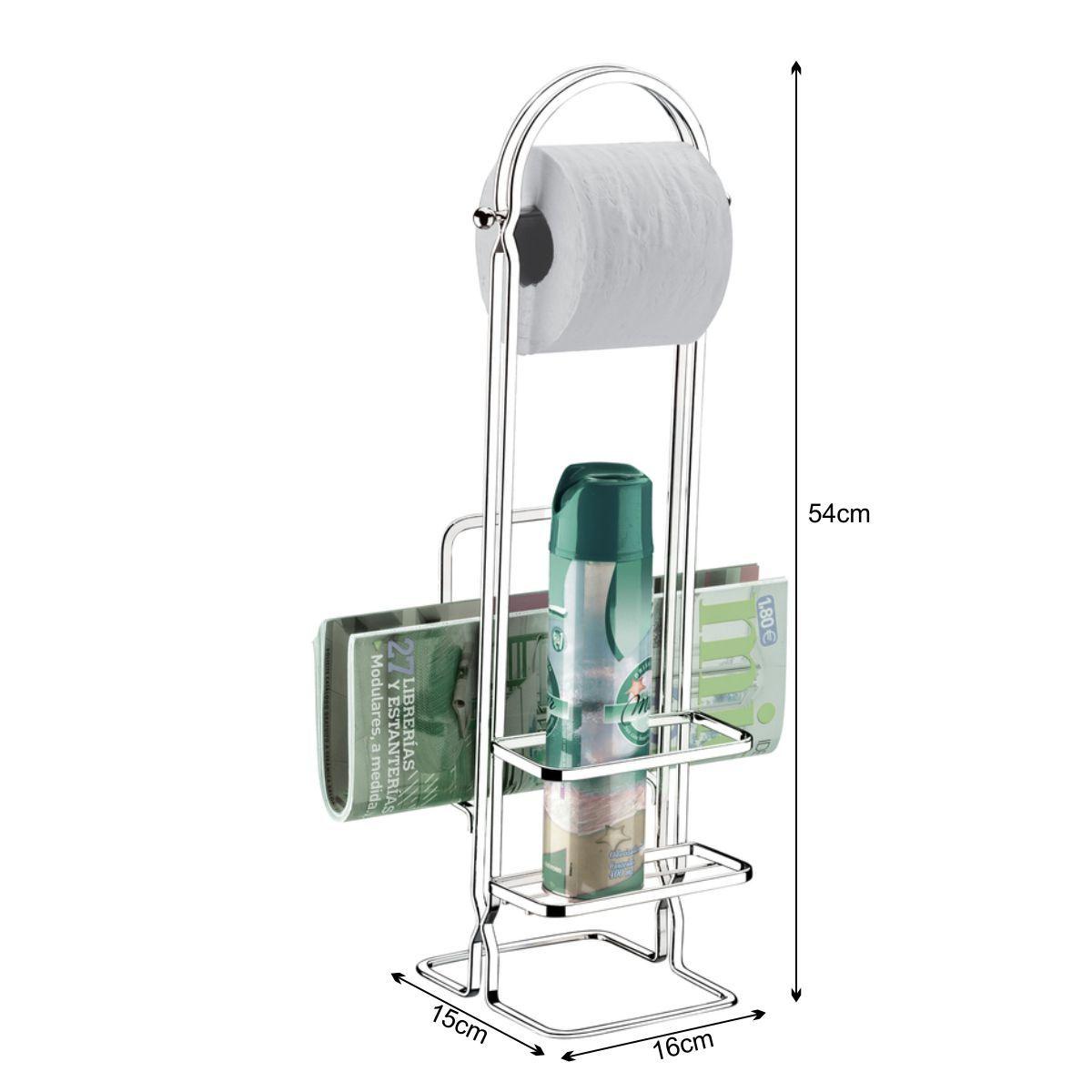 Porta Rolo De Papel Higiênico De Chão Com Revisteiro e Porta Aromatizador - Aço Cromado