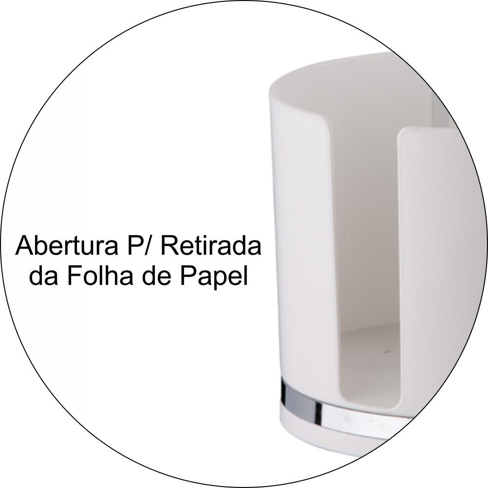 Porta Rolo De Papel Toalha Em Plástico PS Eleganza - Branco