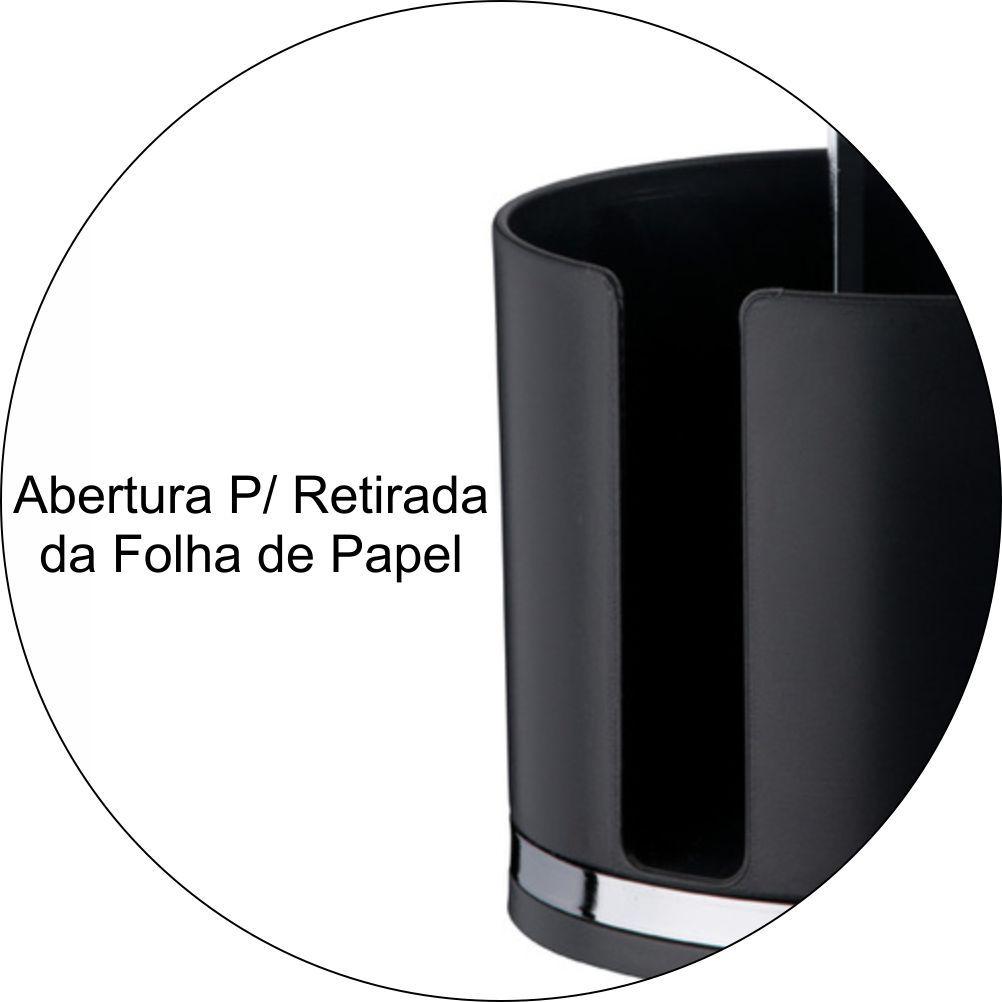 Porta Rolo De Papel Toalha Em Plástico PS Eleganza - Preto