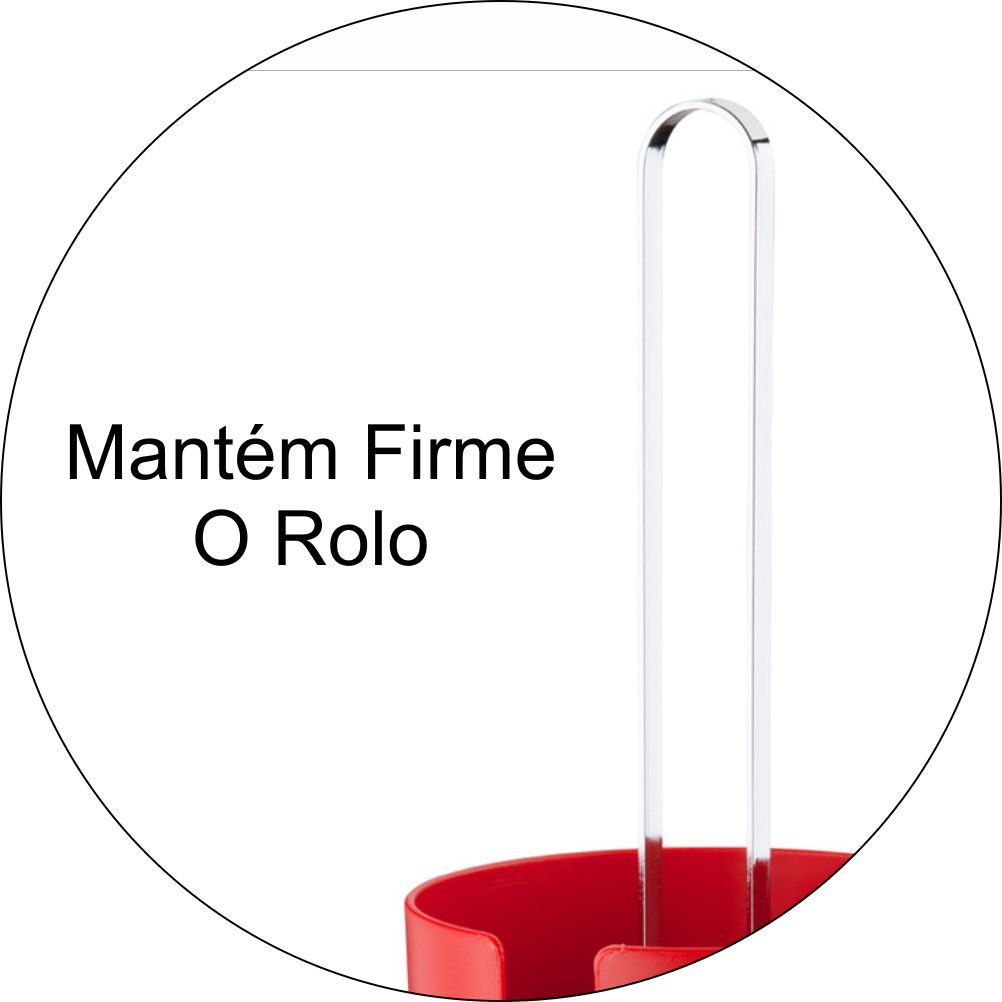 Porta Rolo De Papel Toalha Em Plástico PS Eleganza - Vermelho