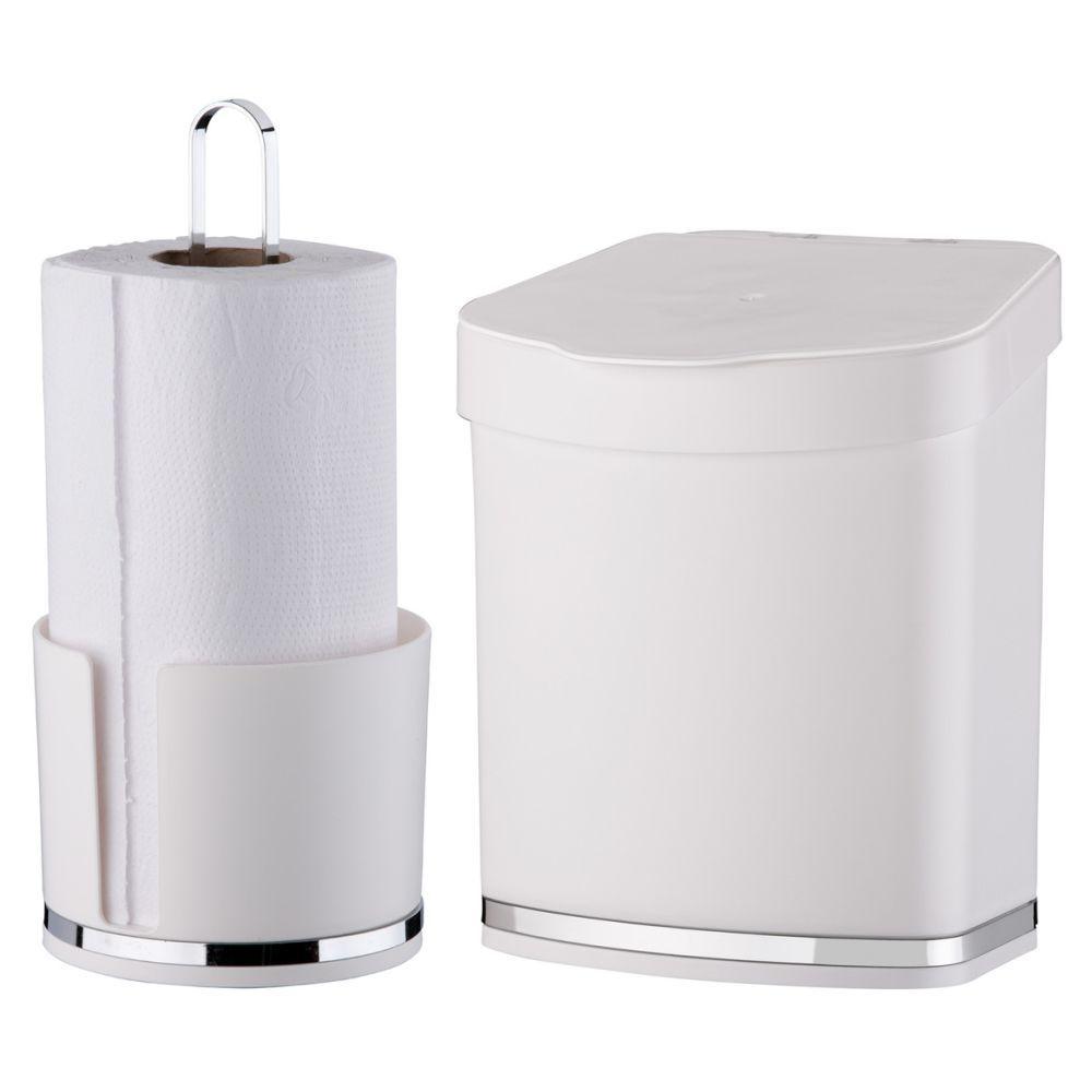 Porta Rolo Papel Toalha Lixeira 2,5 Litros Cozinha Eleganza