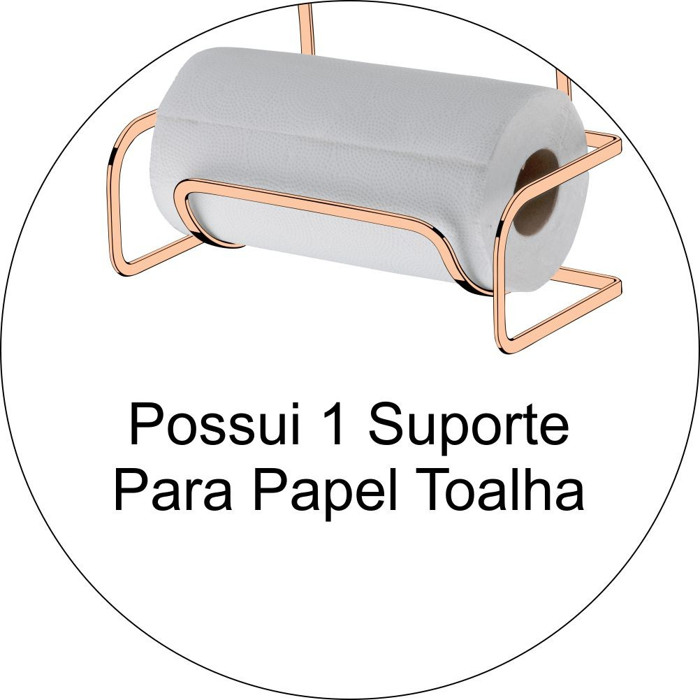 Porta Rolos 3 em 1 Papel Toalha Alumínio PVC - Cobre