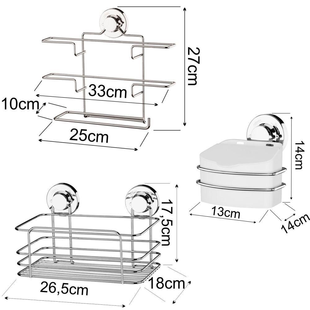 Porta Rolos de Ventosa C/ Cesto Multiuso Suportes Organizadores