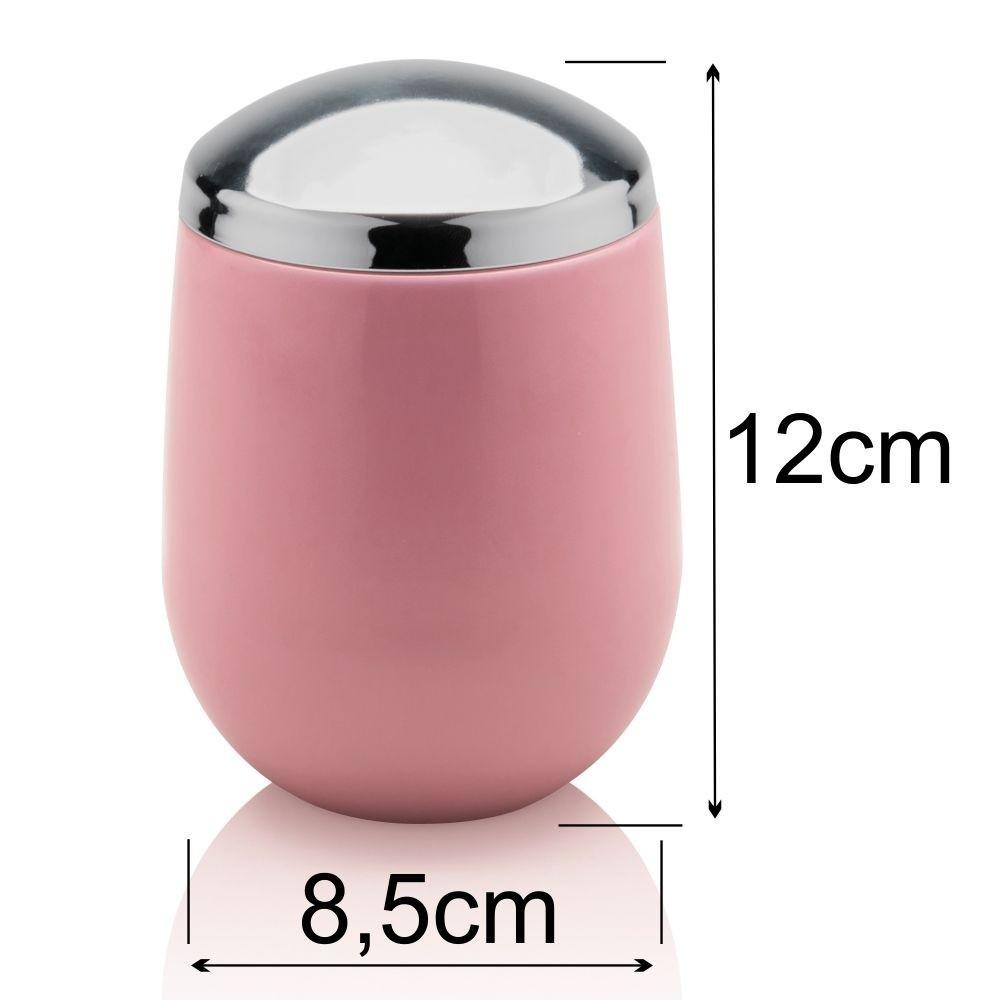 Porta Sabonete Líquido e Algodão Para Banheiro Toalete Rosa