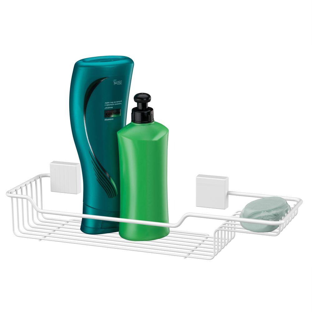 Porta Shampoo E Sabonete Fixação Por Parafuso - Branco