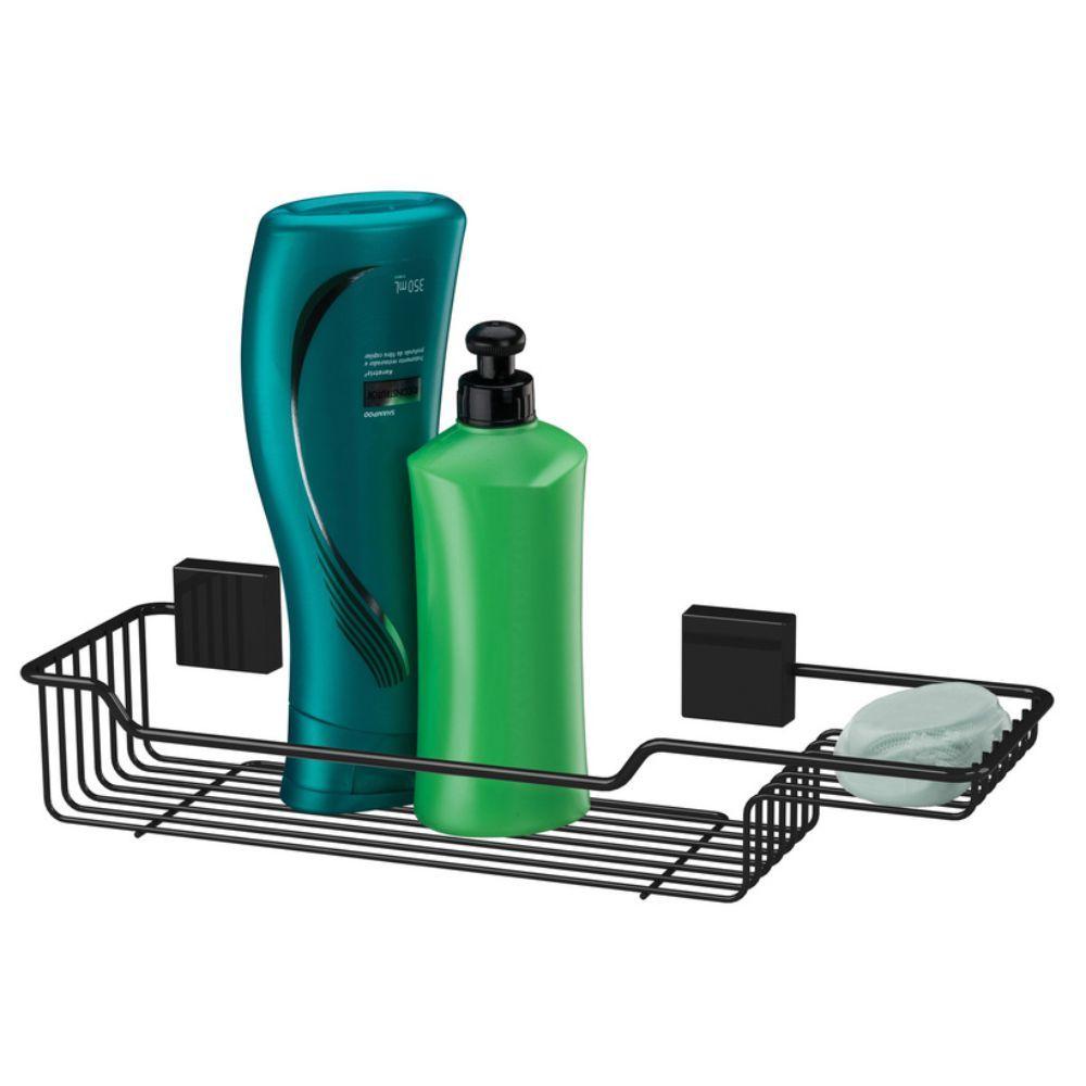 Porta Shampoo E Sabonete Fixação Por Parafuso - Preto