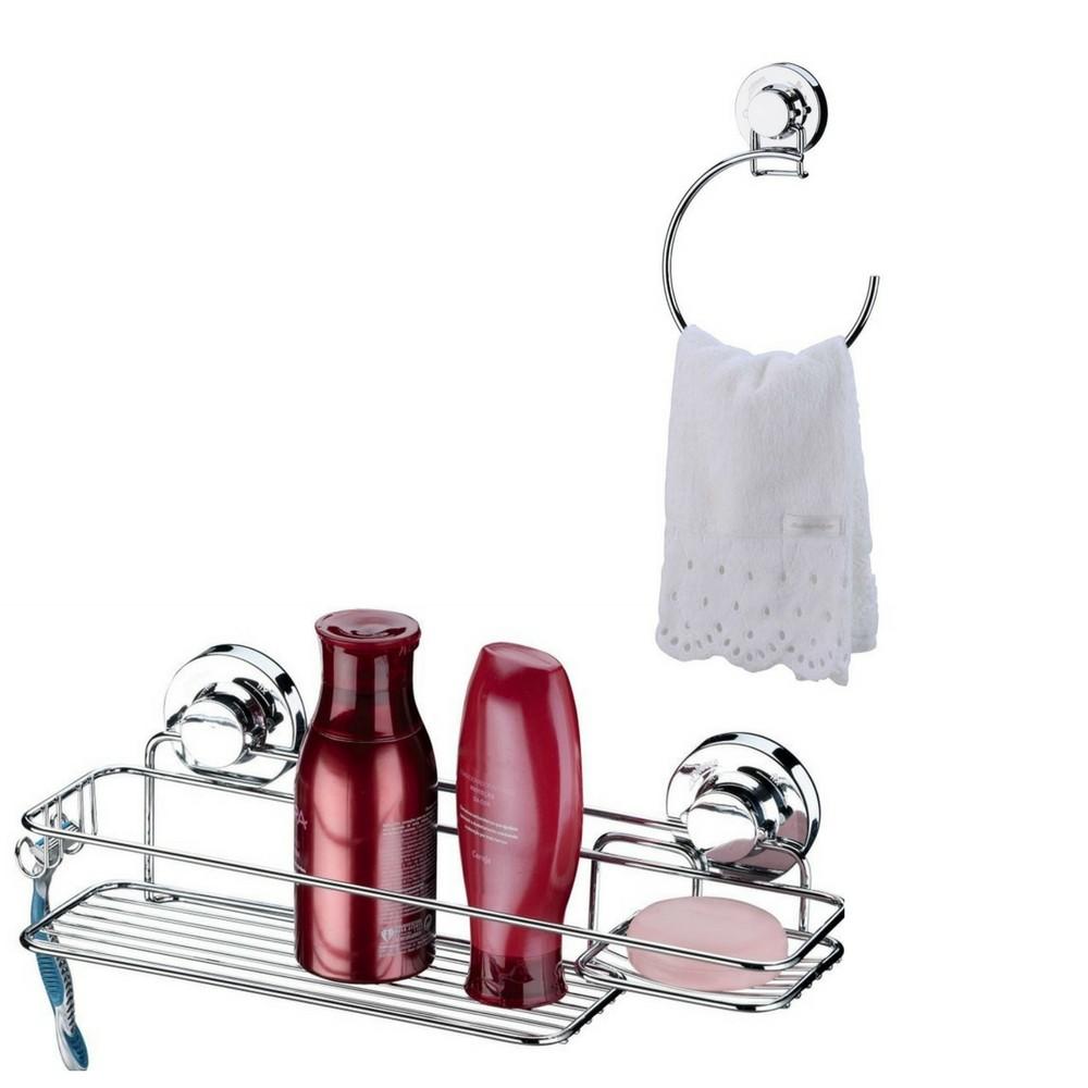 Porta Shampoo Fixação por Ventosa + Toalheiro Argola Toalha de Rosto