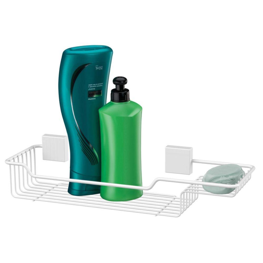Porta Shampoo Sabonete e Toalheiro 60cm - Branco