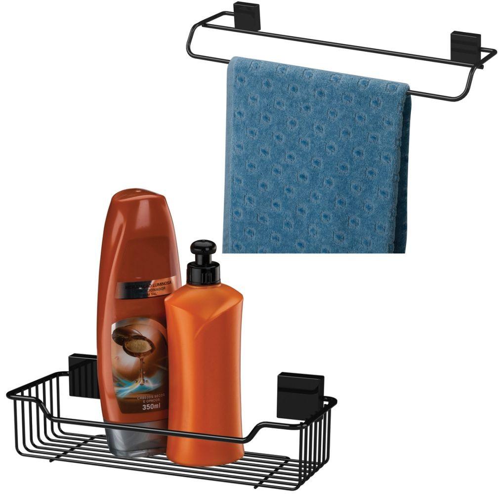 Porta Shampoo + Toalheiro Duplo Fixação Parafuso Aço