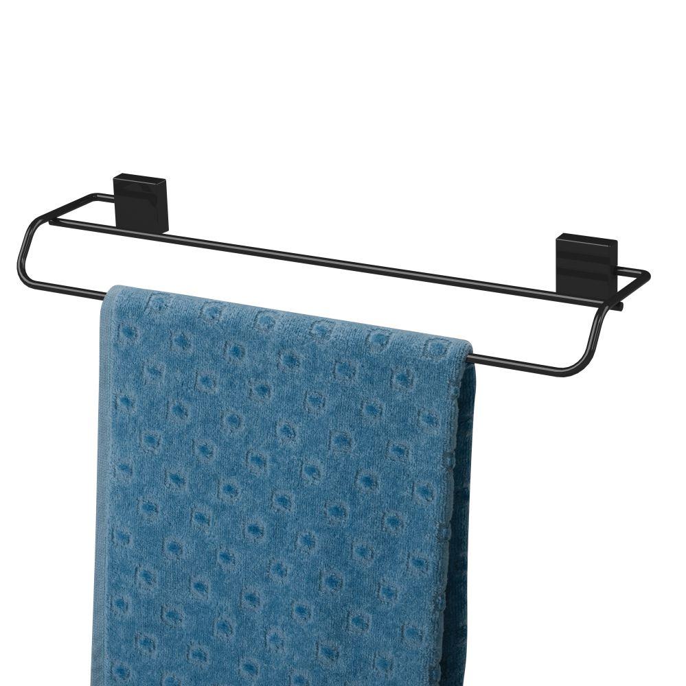 Porta Toalha Duplo 45cm Fixação Por Parafuso - Preto