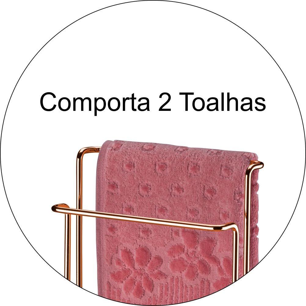Porta Toalhas Duplo Para Bancada Toalha Rosto ou Mãos - Cobre