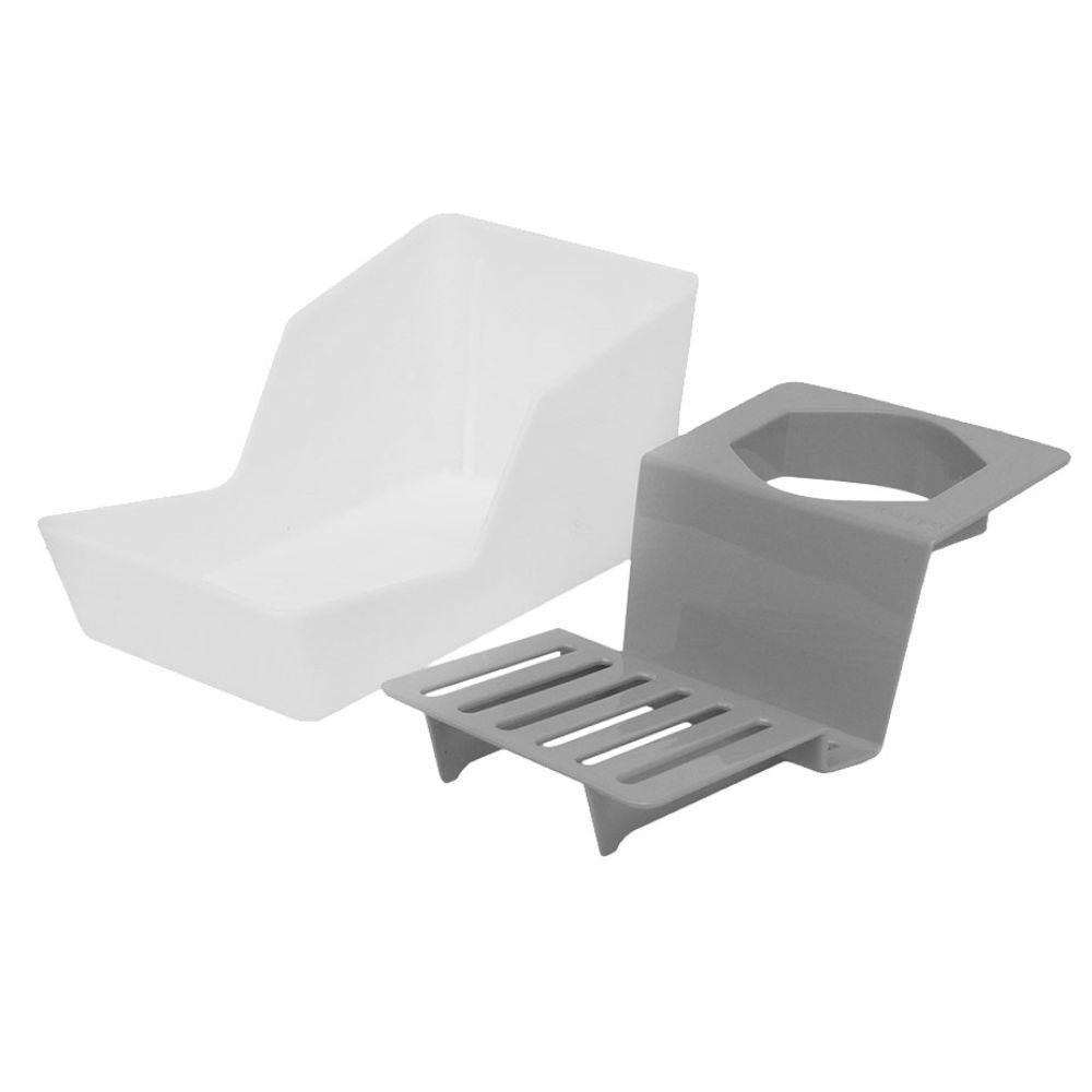 Porta Vidro de Detergente Esponja e Sabão Barra - Chumbo/Vermelho