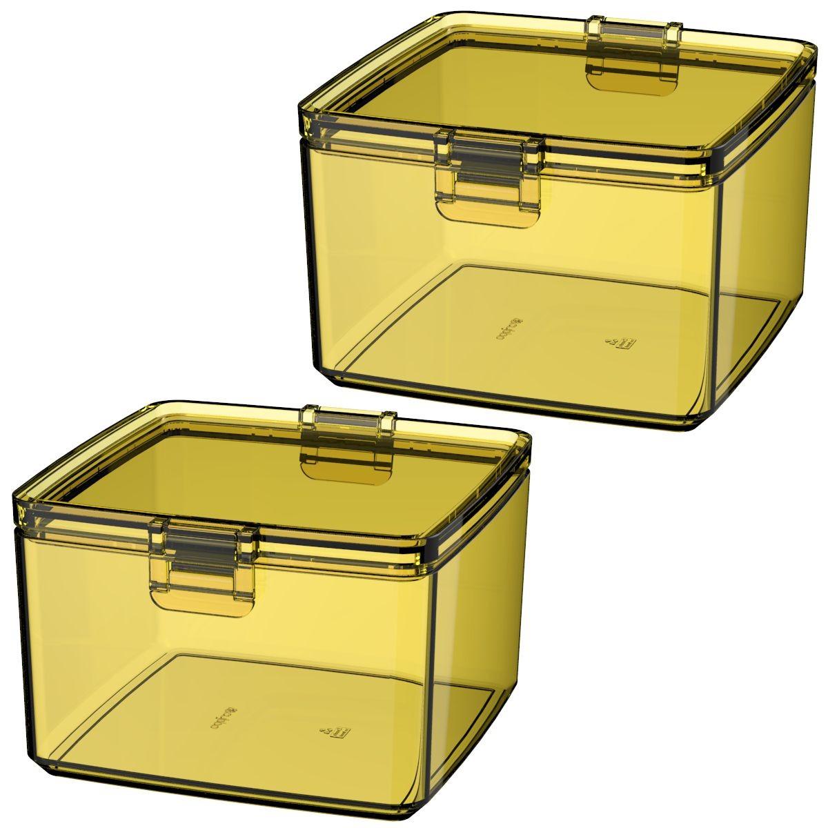 Pote Plástico Com Tampa Hermética 0,75 Litros 2 Peças - Cores
