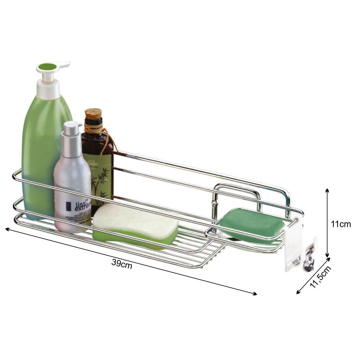 Prateleira Multiuso Para Produtos de Higiene - Aço Cromado