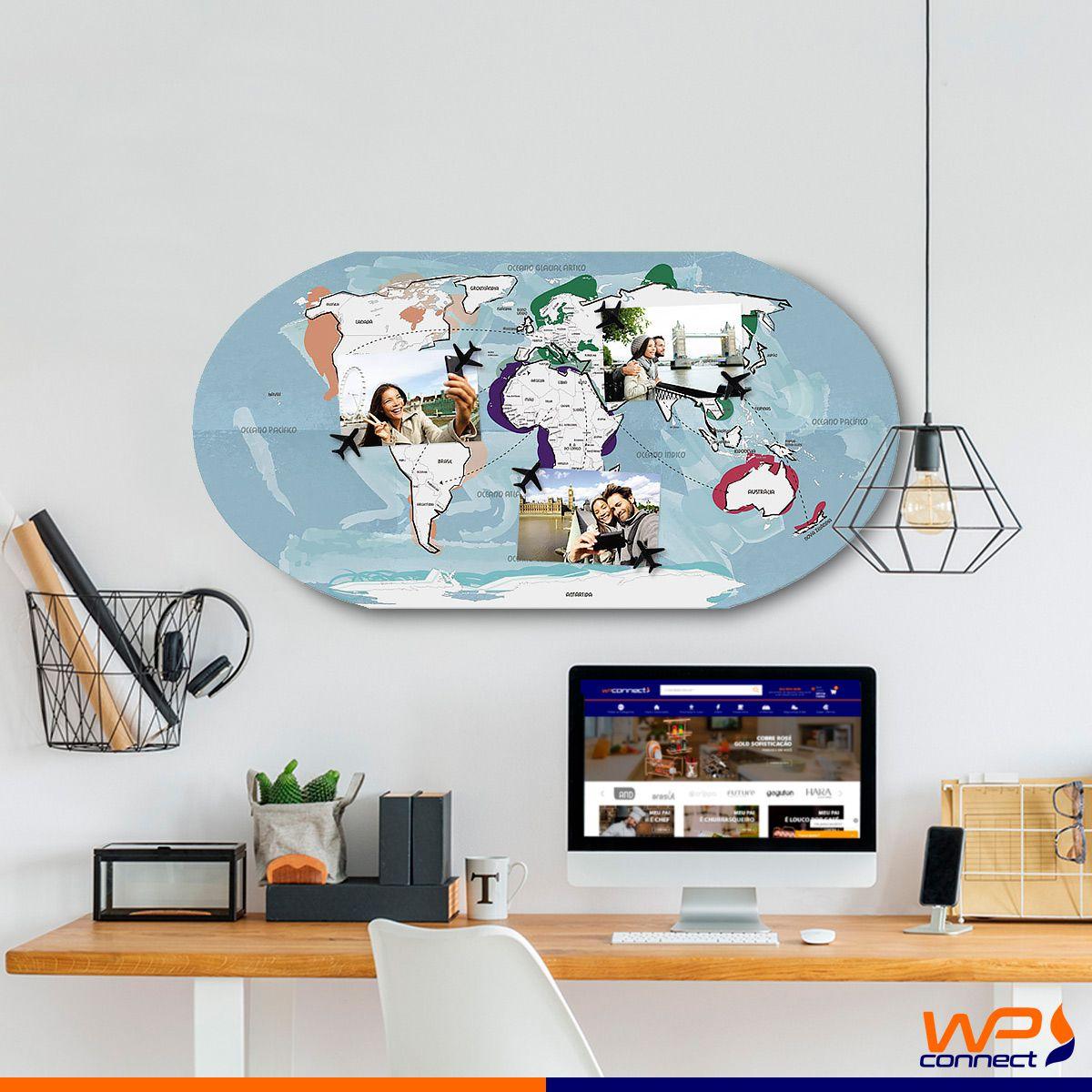 Quadro Para Fotos 6 Ímãs Mapa Mundo Quero Ir