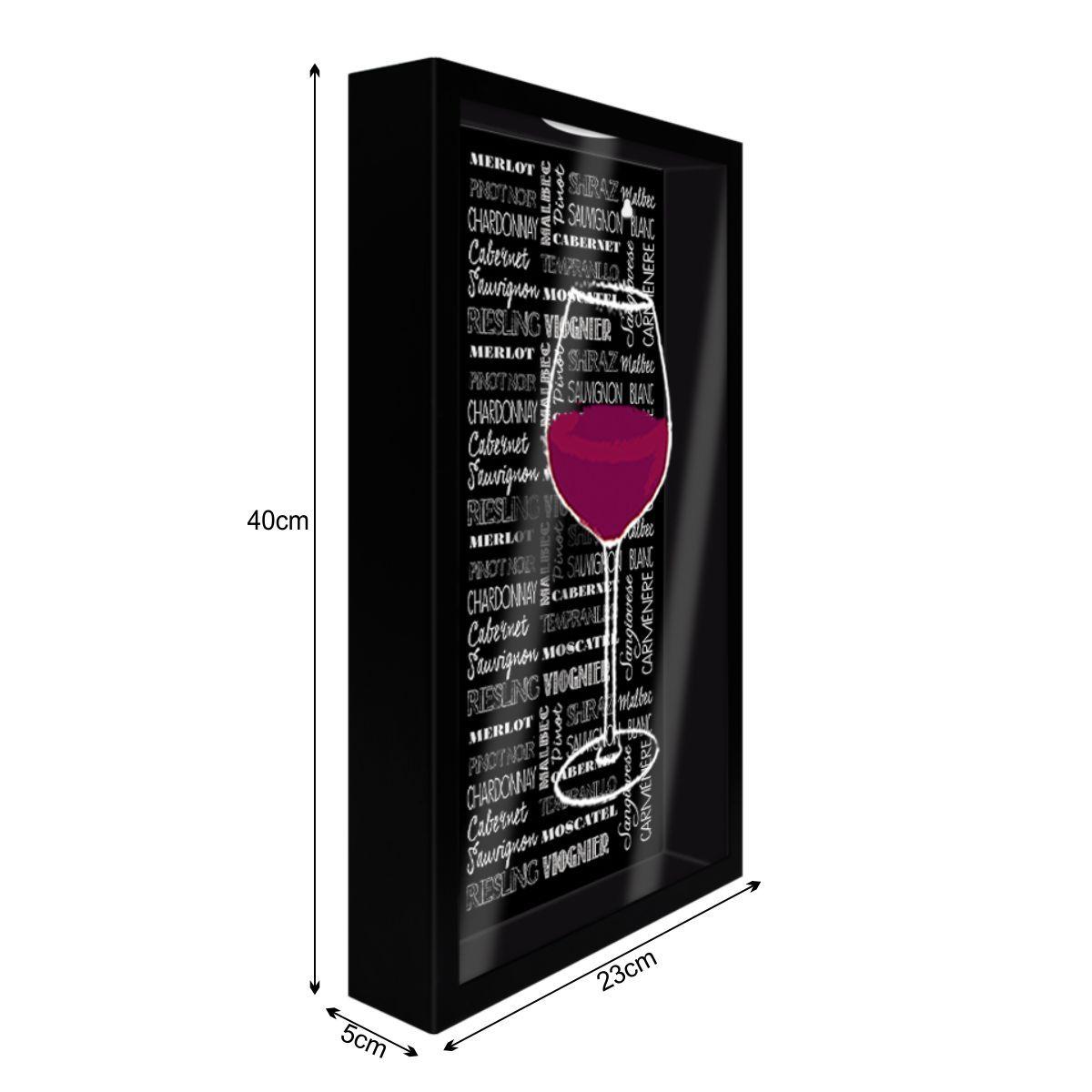 Quadro Porta Rolhas de Parede Com Vidro Taça de Vinho
