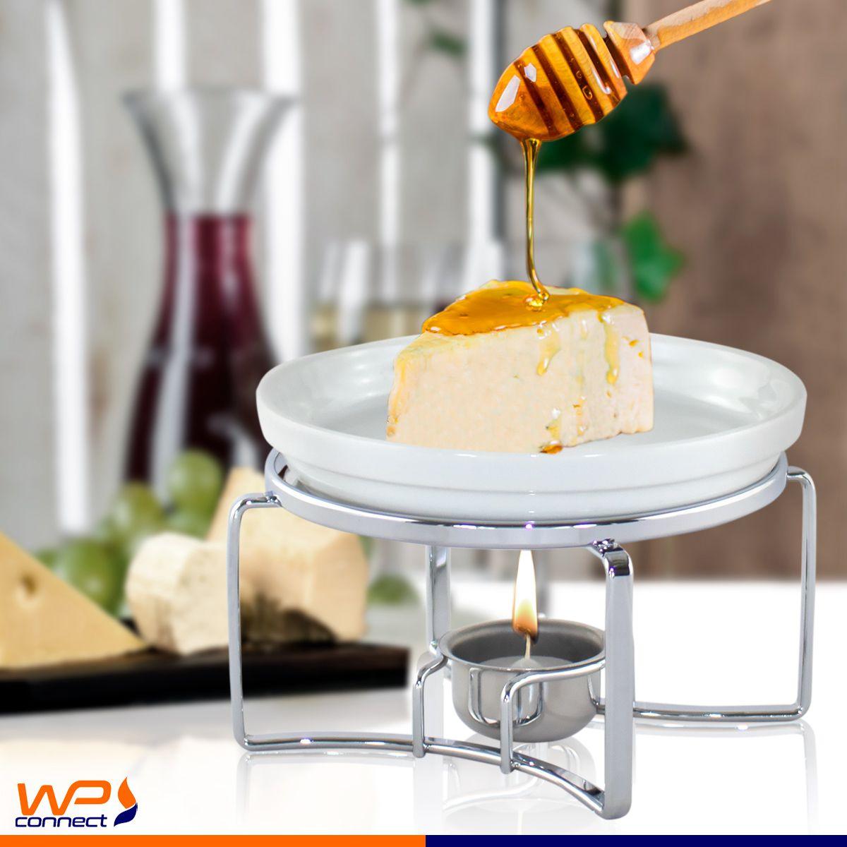 Rechaud Vicenza para Queijo Brie com Cerâmica Branco