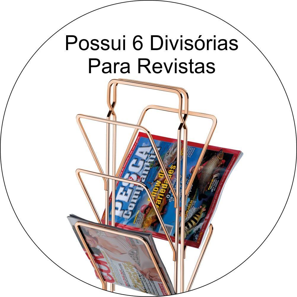 Revisteiro de Chão 6 Divisórias Consultórios Escritórios - Cobre