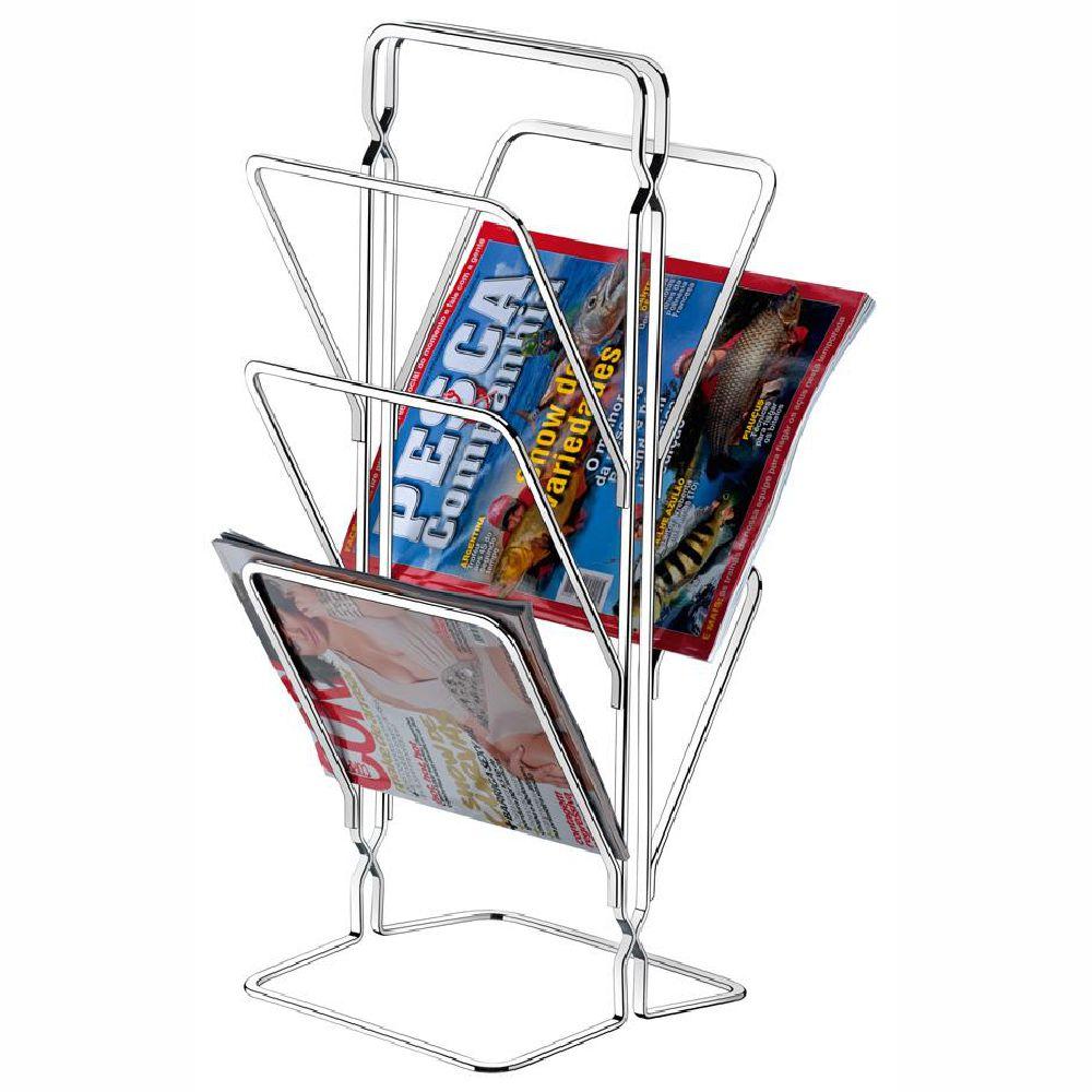 Revisteiro Suporte De Chão Porta Revistas E Jornal - Aço Cromado