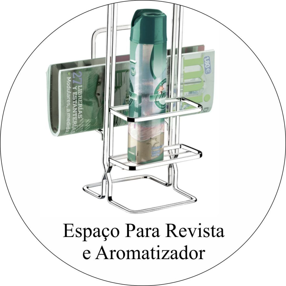 Saboneteira de Parede Papeleira de Chão Com Porta Revistas